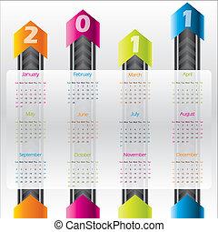 tecnología, calendario, para, 2011