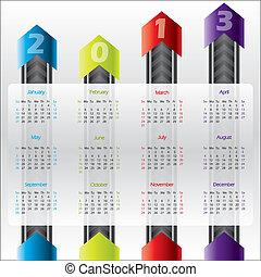 tecnología, calendario, para, 2013