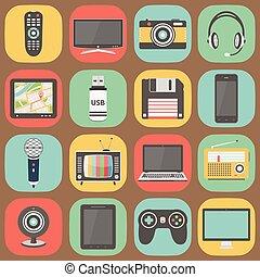 tecnología, colorido, plano, diseño, iconos