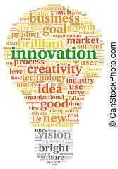 tecnología, concepto, etiqueta, nube, innovación