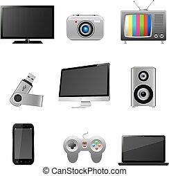 tecnología, dispositivos, iconos