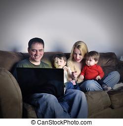 tecnología, familia , en casa, en, computador portatil