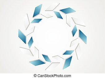 tecnología, geométrico, azul, blanco, logotipo, diseño