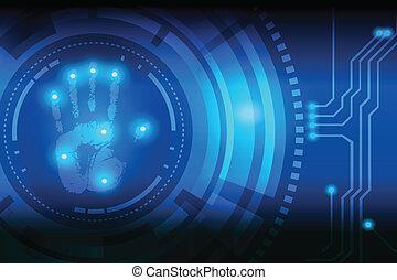 tecnología, handprint, exploración