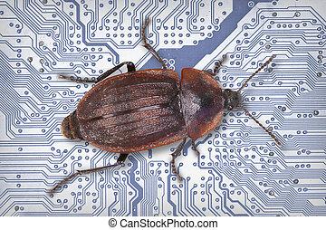 tecnología, industrial, electrónico, fondo azul