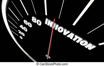 tecnología, innovación, ideas, ilustración, innovador, nuevo, velocímetro, 3d