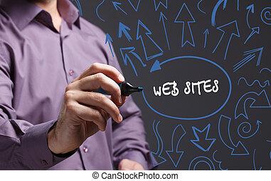 tecnología, internet, empresa / negocio, y, marketing., joven, hombre de negocios, escritura, word:, sitios web