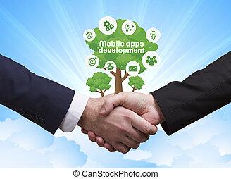 tecnología, internet, empresa / negocio, y, red, concept., hombres de negocios, sacudida, hands:, móvil, apps, desarrollo