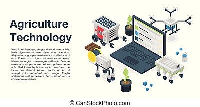 tecnología, isométrico, bandera, estilo, agricultura, ...