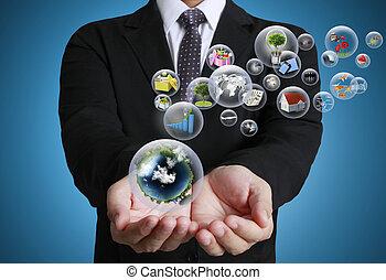 tecnología, manos