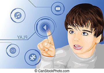 tecnología moderna, niño