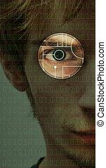tecnología, ojo, exploración, plano de fondo