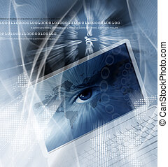 tecnología, plano de fondo, con, computadora