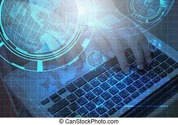 tecnología, plano de fondo, de, mano, uso, computadora del cuaderno, con, globo de la tierra, doble, exposure.