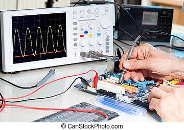tecnología, pruebas, equipo electrónico, en el servicio,...