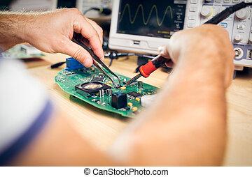 tecnología, pruebas, equipo electrónico