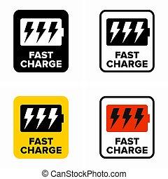 tecnología, rápido, carga, señal de información, rápido, o