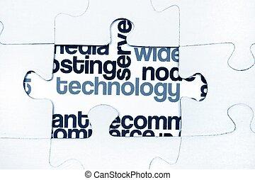 tecnología, rompecabezas, concepto