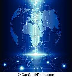 tecnología, telecomunicaciones, resumen, global, vector, plano de fondo, futuro, eléctrico