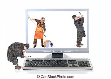 tecnología, virus, hola, computadora, cheque