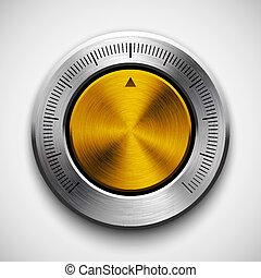 tecnología, volumen, botón, con, metal, textura