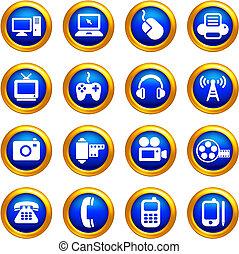 tecnología y comunicación, iconos, en, botones, con, dorado, borde