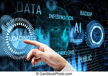 tecnología, y, futuro, concepto