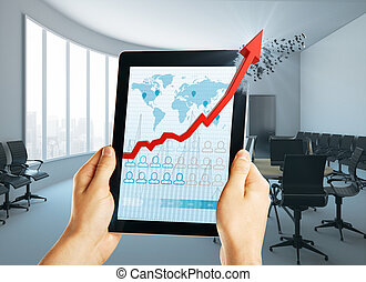 tecnología, y, ingresos, concepto