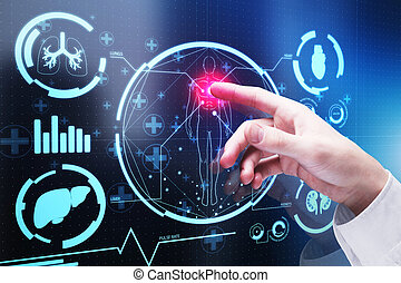 tecnología, y, medicina, concepto