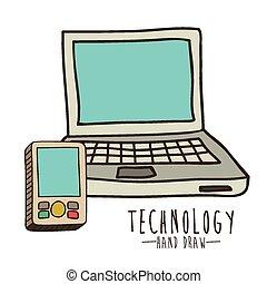 tecnología, y, multimedia, diseño
