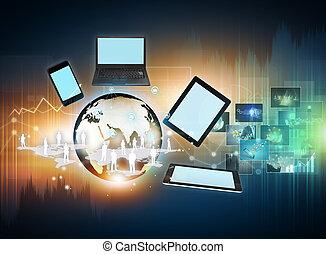 tecnología, y, social, medios
