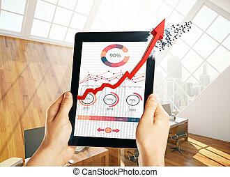 tecnología, y, ventas, concepto