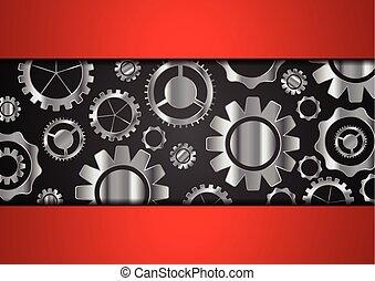 tecnologia, abstratos, fundo, com, metálico, engrenagens