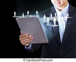 tecnologia, affari, mani