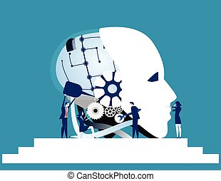 tecnologia affari, vettore, riparazione, teamwork., concetto, robot, squadra, technology., illustration.