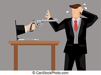 tecnologia, affari, vettore, tatto, minacciato, cartone ...