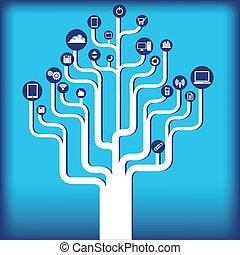 tecnologia, albero, fondo