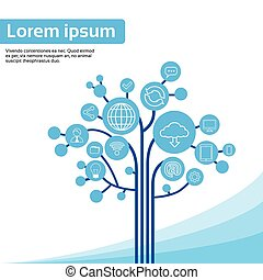 tecnologia, albero, sociale, media, icone, linea sottile, logotipo, set