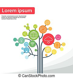 tecnologia, albero, sociale, media, icone, linea sottile,...