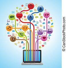 tecnologia, app, árvore