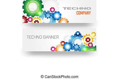 tecnologia, bandeira, engrenagens, coloridos