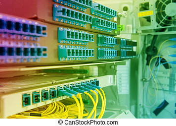 tecnologia, centro, com, fibra ótico, equipamento