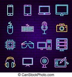 tecnologia, computer, neon, icone