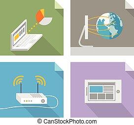tecnologia, conceitos, modernos, desenho, elementos