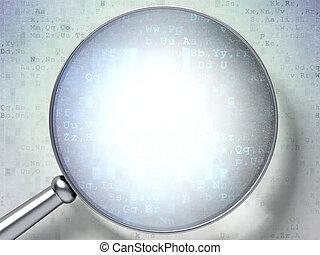 tecnologia, concept:, lente, sopra, sfondo digitale