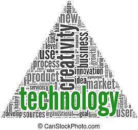 tecnologia, concetto, creatività, nuvola, etichetta