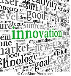 tecnologia, concetto, etichetta, nuvola, innovazione