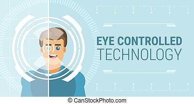 tecnologia, controlado, olho