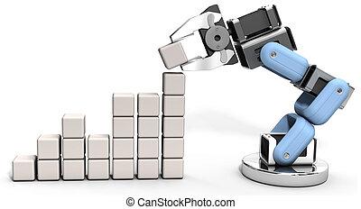 tecnologia, dati, robot, affari, grafico