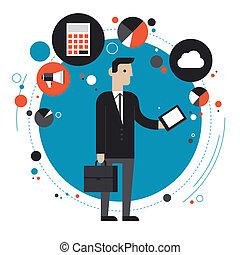 tecnologia, de, negócio, apartamento, ilustração, conceito